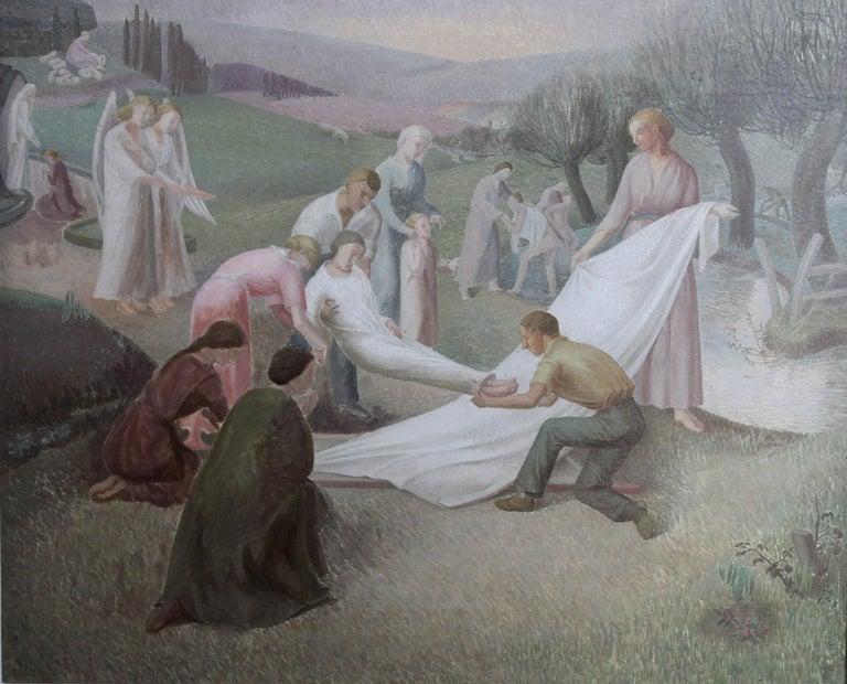 The Entombment - British art 30's oil painting religious landscape Jesus angels 9