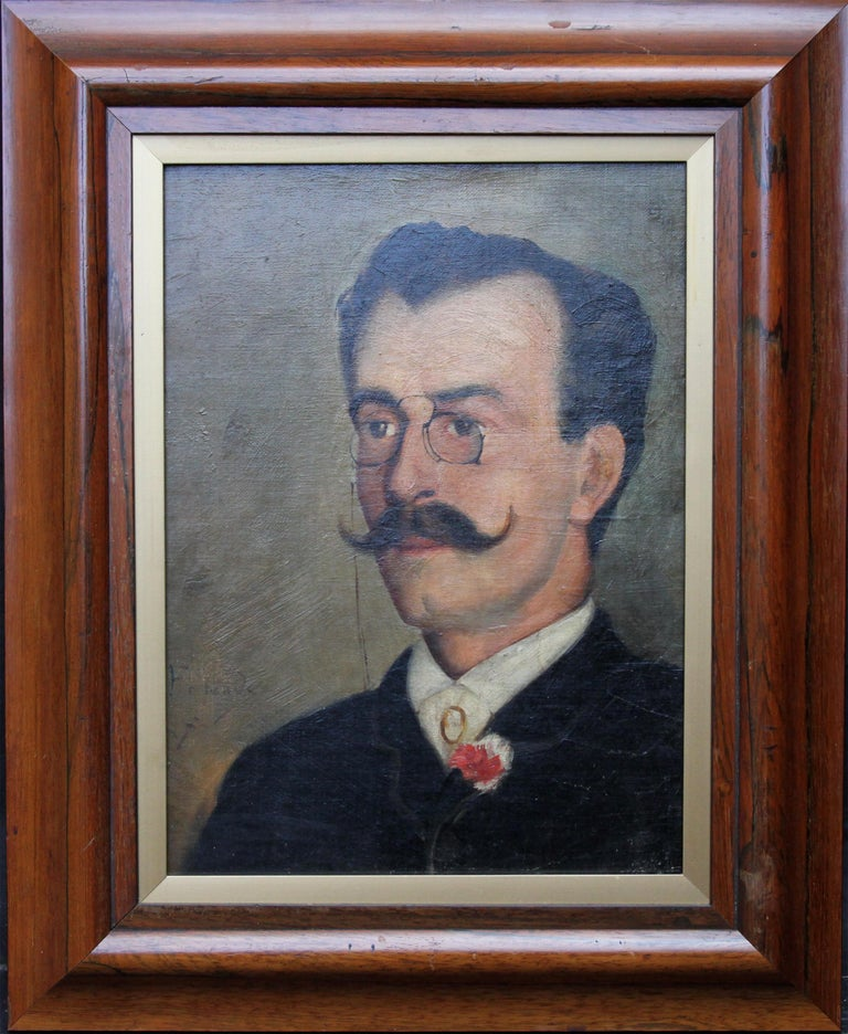 This charming portrait oil painting is of Alfredo Carneiro da Cunha, Portuguese Journalist. Painted circa 1880 he is sporting a superb waxed moustache, pinz nez, flower in his lapel and small cameo on his cravat. A fine portrait believed to have