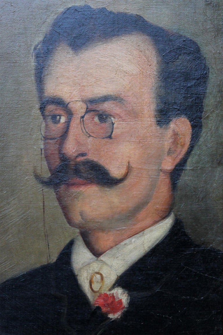 Portrait of Alfredo da Cunha - Victorian French American portrait oil painting For Sale 2