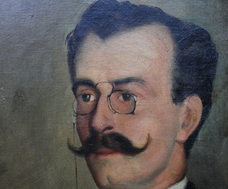 Portrait of Alfredo da Cunha - Victorian French American portrait oil painting For Sale 3