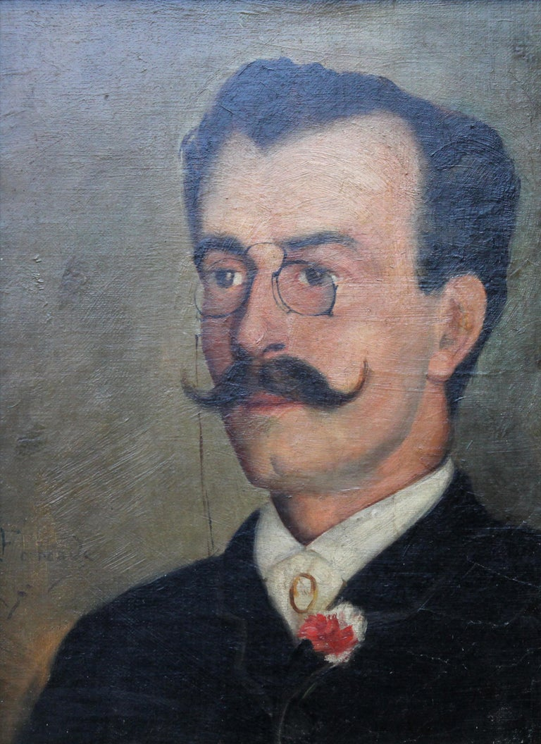 Portrait of Alfredo da Cunha - Victorian French American portrait oil painting For Sale 5