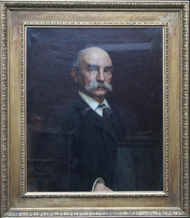 This superb oil on canvas portrait painting is attributed to Victorian artist George Frederick Watts. Painted circa 1880 the sitter is John Beck, a fine suited gentleman wearing a gold ring on his cravat and sporting a white handlebar moustache. The
