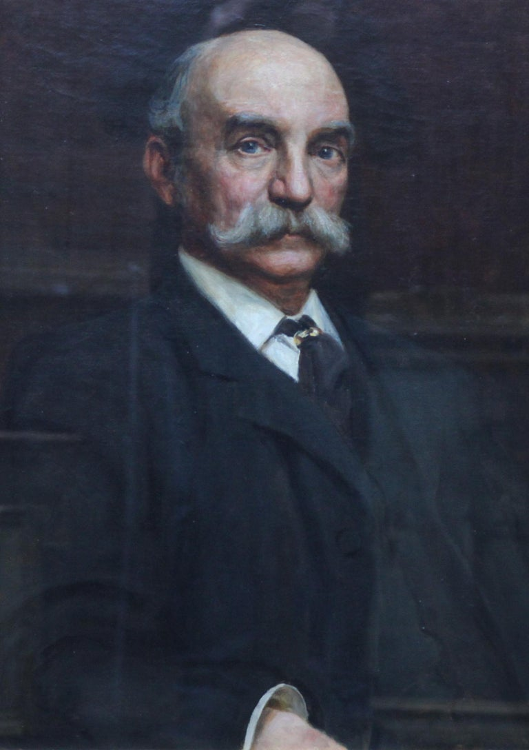 Portrait of John Beck - British Victorian art oil painting male portrait For Sale 2
