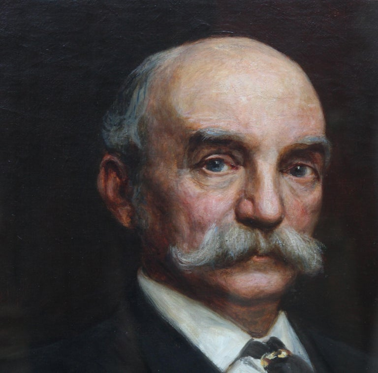 Portrait of John Beck - British Victorian art oil painting male portrait For Sale 4