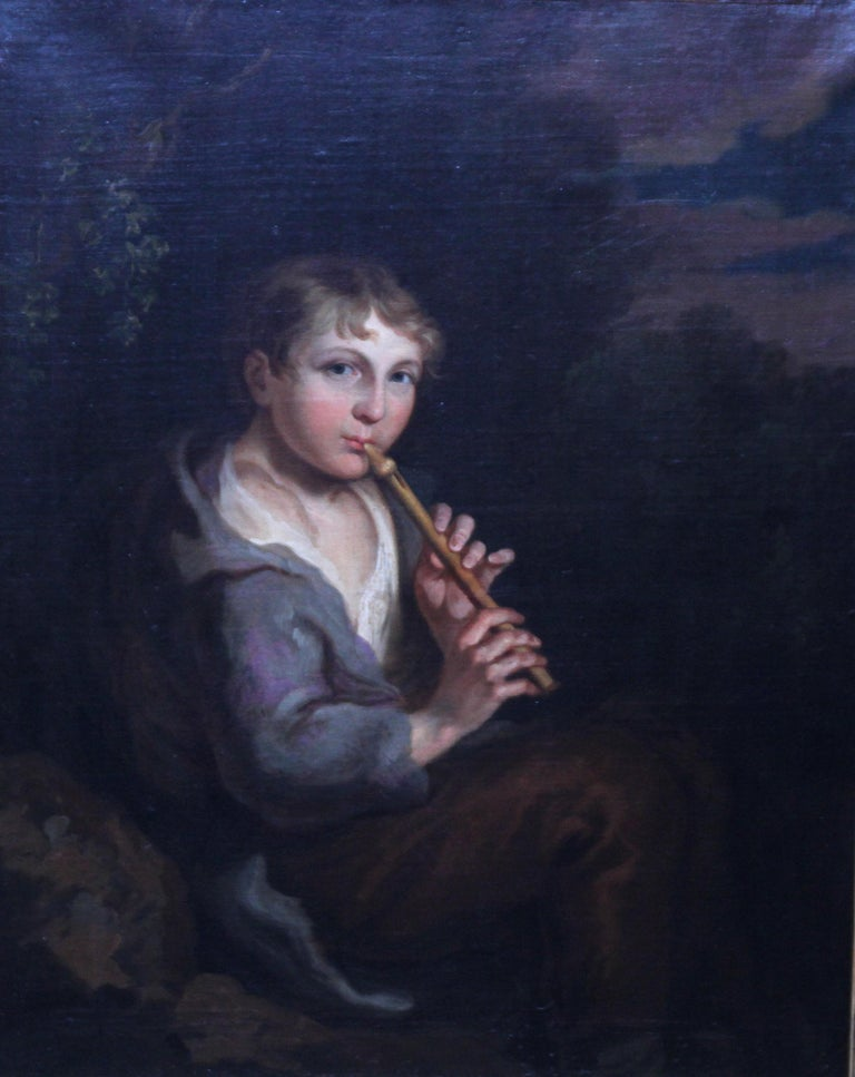 Portrait of Boy Playing a Flute - 18th/19th century art Old Master oil painting  For Sale 1