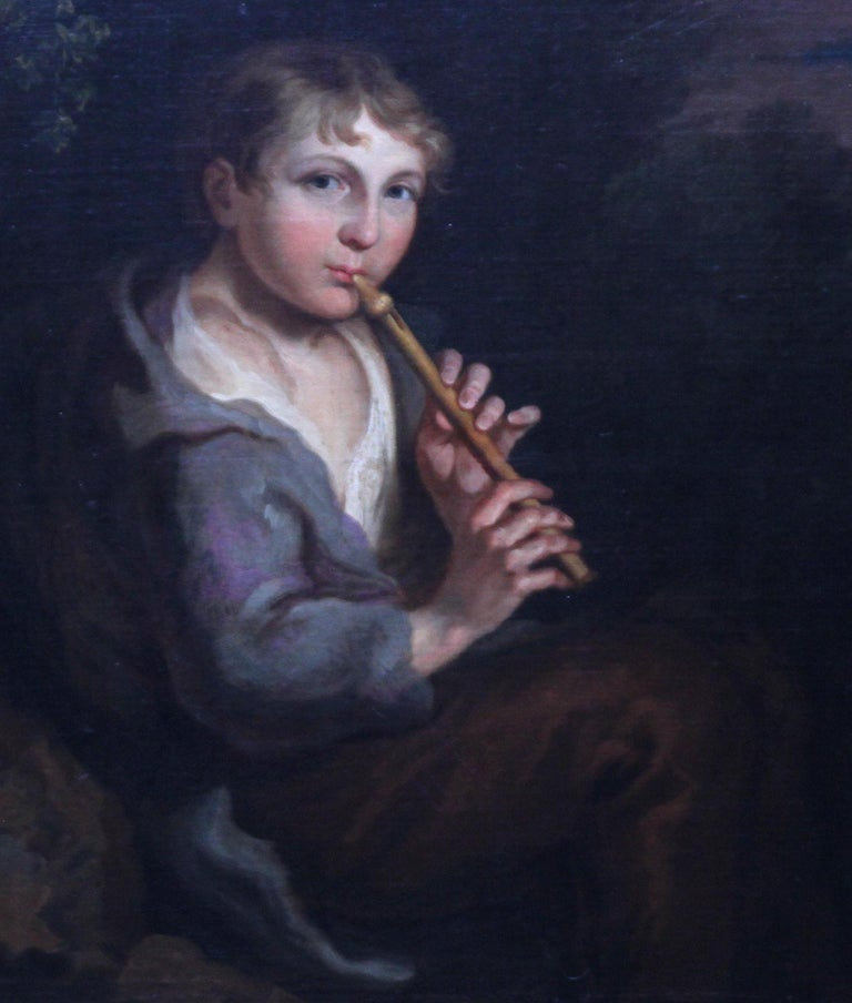 Portrait of Boy Playing a Flute - 18th/19th century art Old Master oil painting  For Sale 2