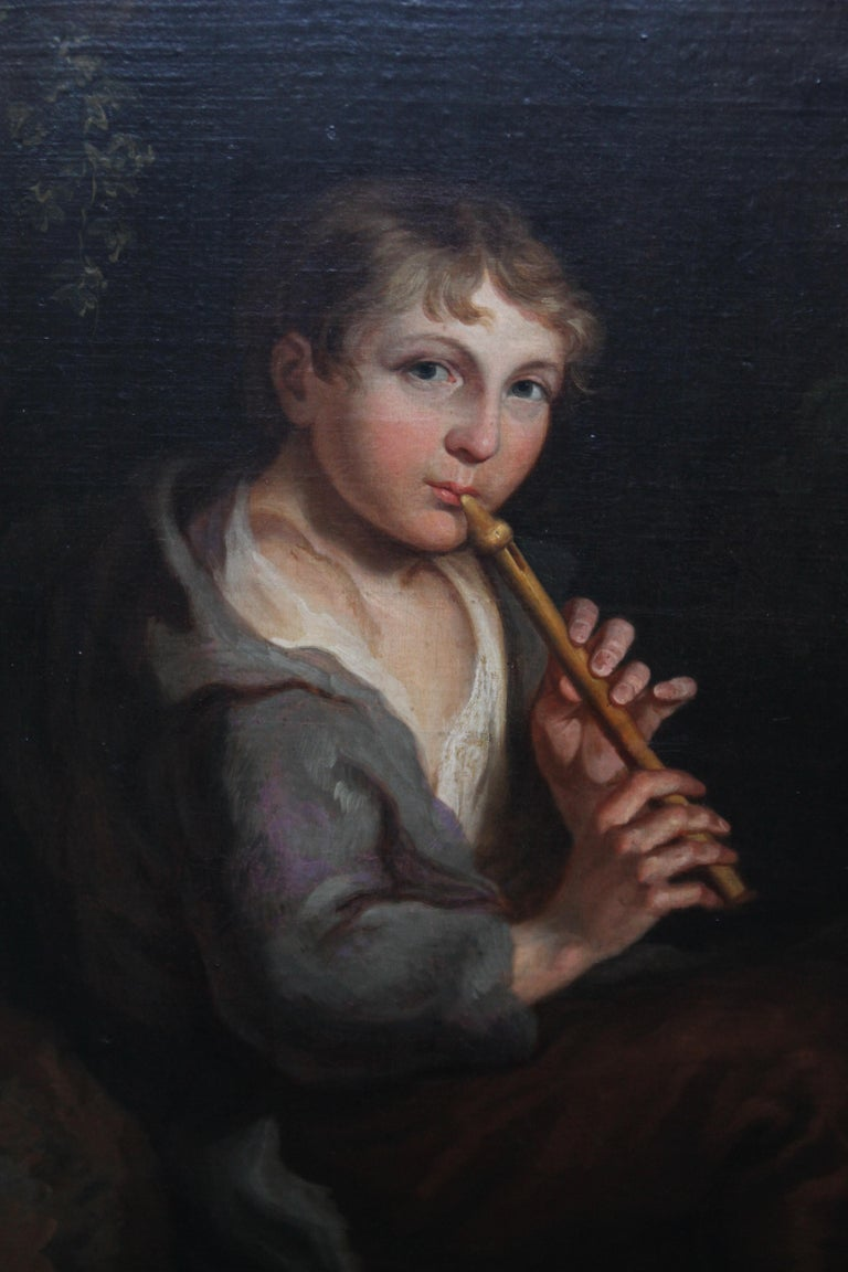 Portrait of Boy Playing a Flute - 18th/19th century art Old Master oil painting  For Sale 3
