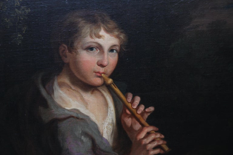 Portrait of Boy Playing a Flute - 18th/19th century art Old Master oil painting  For Sale 4