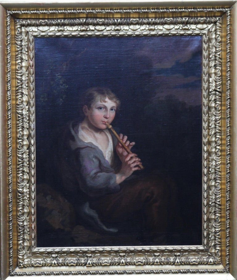 Portrait of Boy Playing a Flute - 18th/19th century art Old Master oil painting  For Sale 8