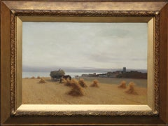 Harvesters in a Coastal Landscape - British art 19th century oil painting