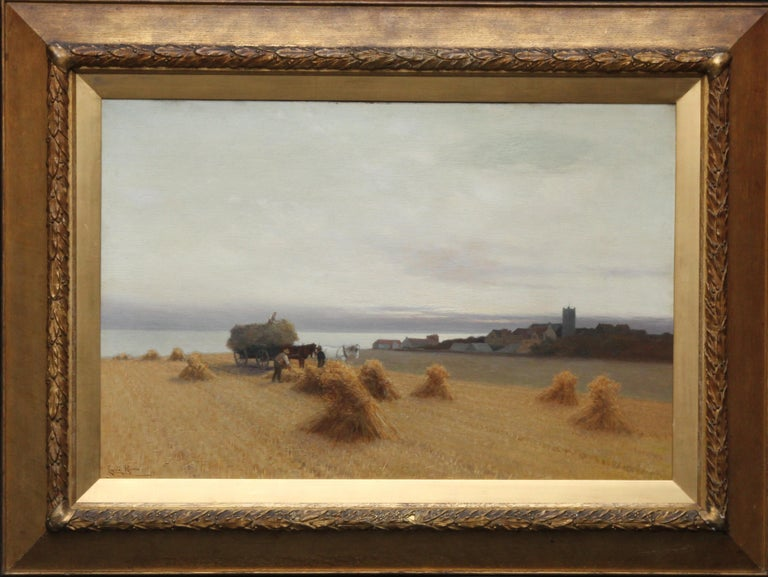 This absolutely charming Victorian oil painting is by British artist and prolific exhibitor Leopold Rivers. Indeed our painting may have been exhibited at the Royal Academy in 1897 no. 1169 as Harvest Time. The wonderful soft focus and muted tones