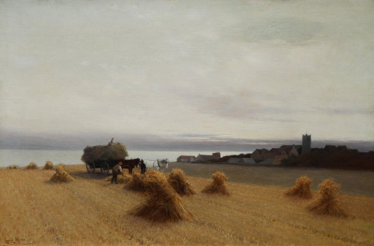 Harvesters in a Coastal Landscape - British art 19th century oil painting For Sale 1