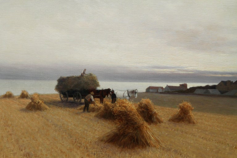 Harvesters in a Coastal Landscape - British art 19th century oil painting For Sale 2