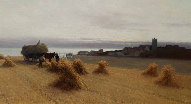 Harvesters in a Coastal Landscape - British art 19th century oil painting For Sale 3