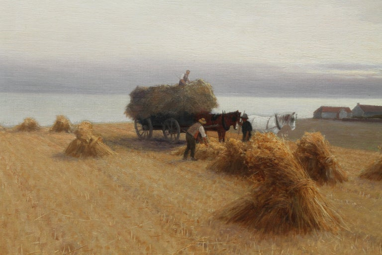 Harvesters in a Coastal Landscape - British art 19th century oil painting For Sale 4