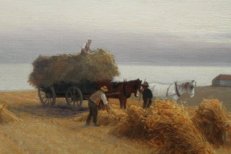 Harvesters in a Coastal Landscape - British art 19th century oil painting For Sale 5