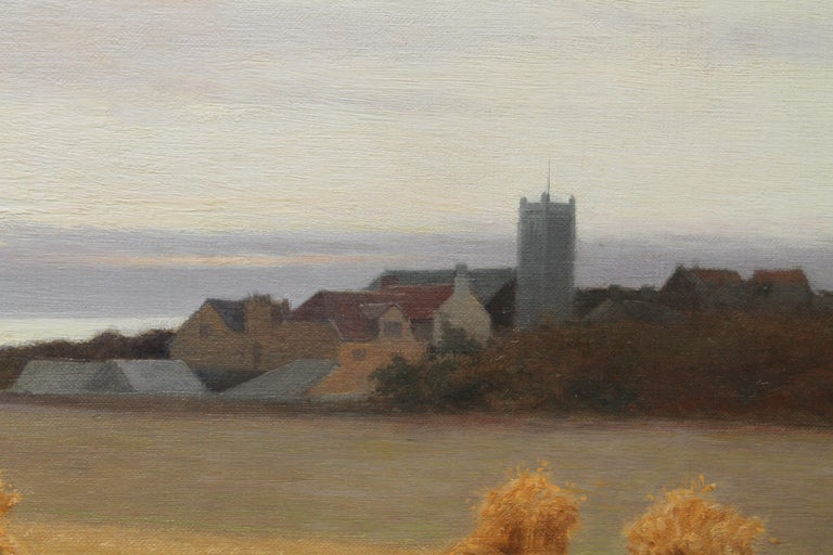 Harvesters in a Coastal Landscape - British art 19th century oil painting For Sale 6
