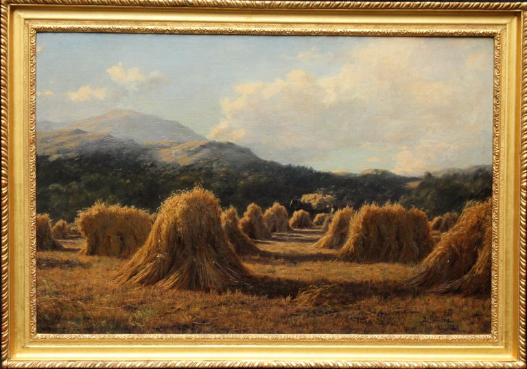This wonderful Victorian Scottish landscape oil painting is by noted Scottish artist Duncan Cameron. Painted in 1880 it is a superb example of his favourite subject, cornfields. The location is near Brig o' Turk, a small rural community in the