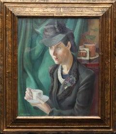 Portrait of Artist's Wife Roberta Hodges Taking Tea - 1940's art oil painting