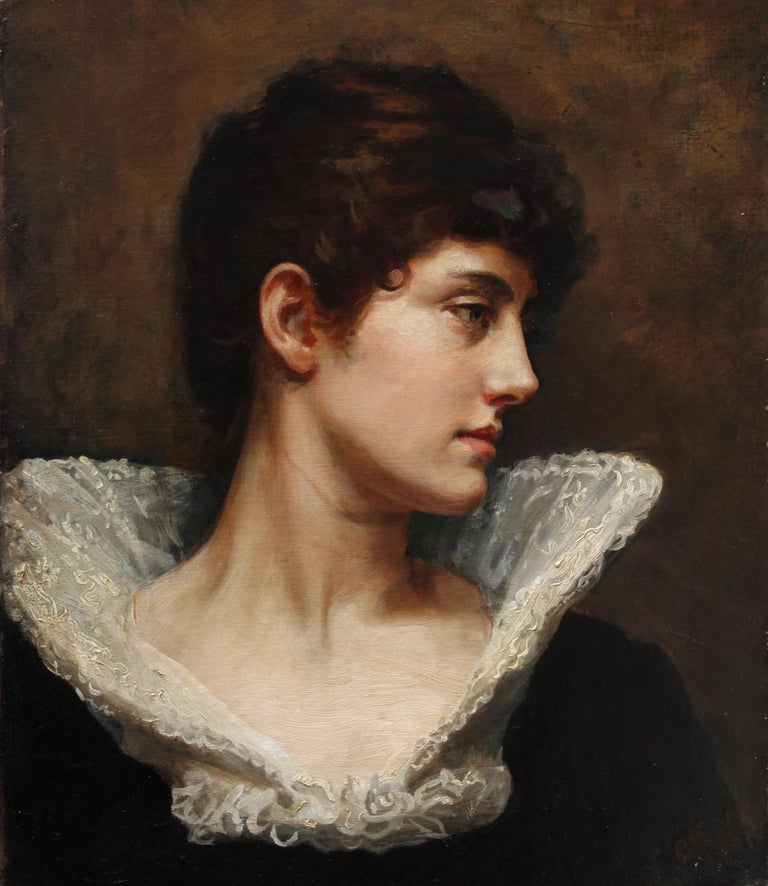 Portrait of a Lady in a Lace Collar - British Victorian art oil painting For Sale 1