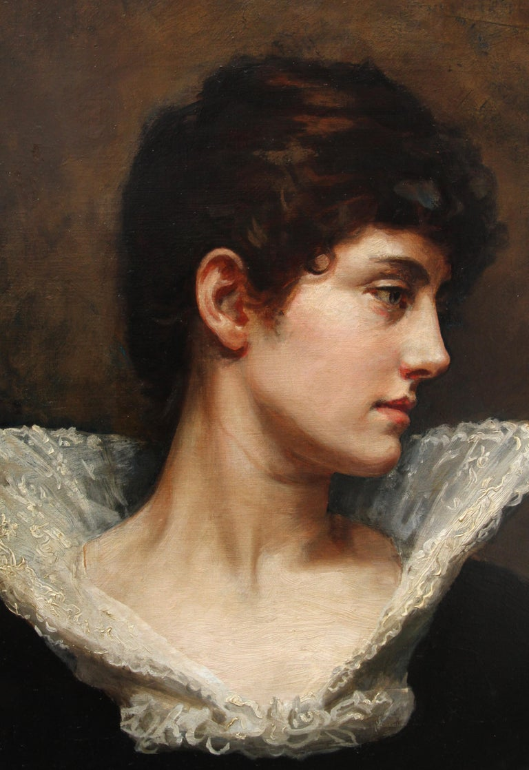 Portrait of a Lady in a Lace Collar - British Victorian art oil painting For Sale 2