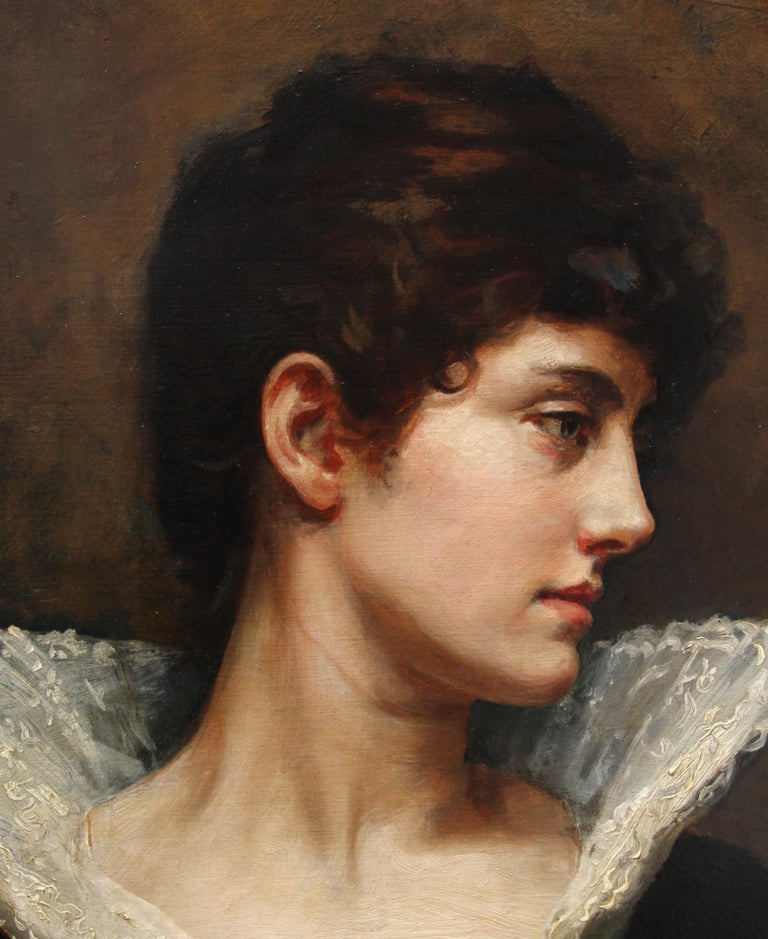 Portrait of a Lady in a Lace Collar - British Victorian art oil painting For Sale 3