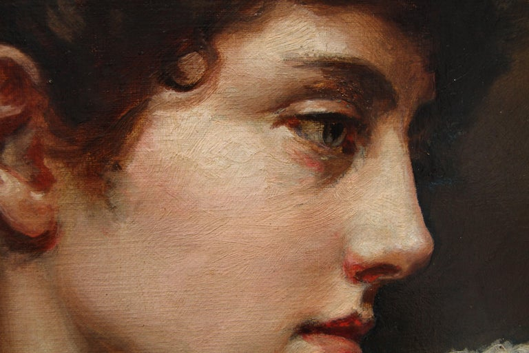 Portrait of a Lady in a Lace Collar - British Victorian art oil painting For Sale 6