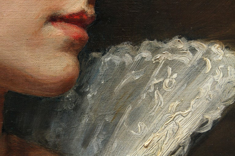 Portrait of a Lady in a Lace Collar - British Victorian art oil painting For Sale 8