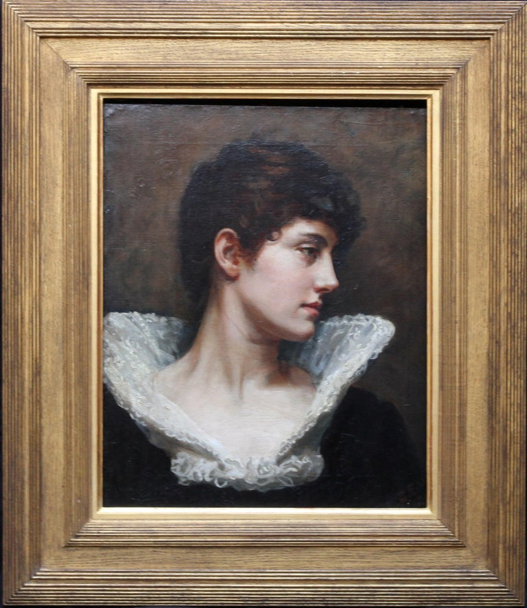 Portrait of a Lady in a Lace Collar - British Victorian art oil painting For Sale 11