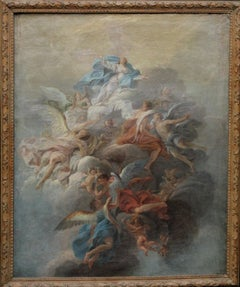 The Assumption of the Virgin Mary with Angels - French Old Master religious art