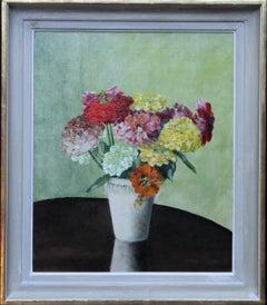 Zinnias - British 1940's art floral still life oil painting female artist