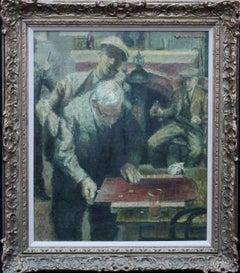 Shove Ha'penny - British Impressionist art 40's Pub game interior oil painting