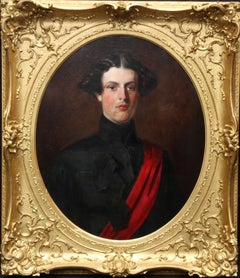 Military Portrait of Hon Edward Brownlow - British 19th century art oil painting