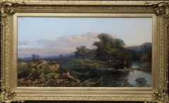Landscape with Cattle and Peasants - British 19thC art landscape oil painting