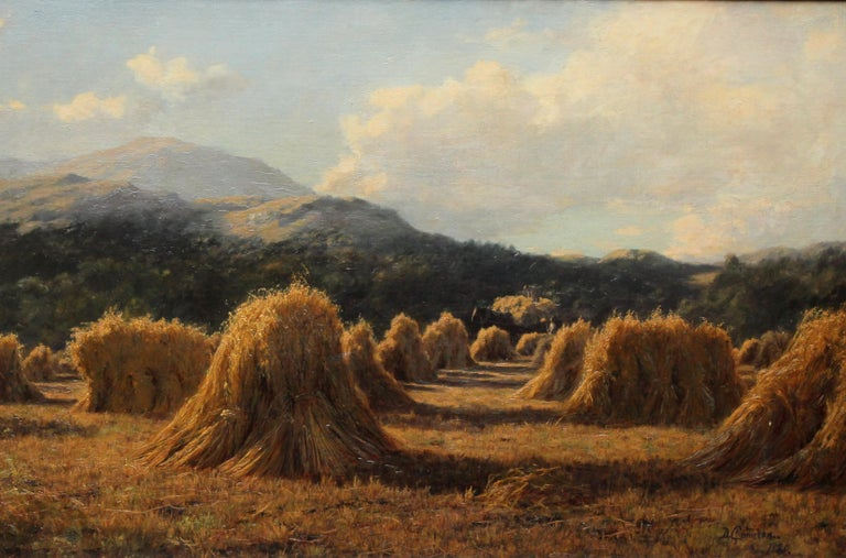 Harvest Field Brig O Turk Stirling Scotland -  Scottish art 1880 oil painting - Painting by Duncan Cameron