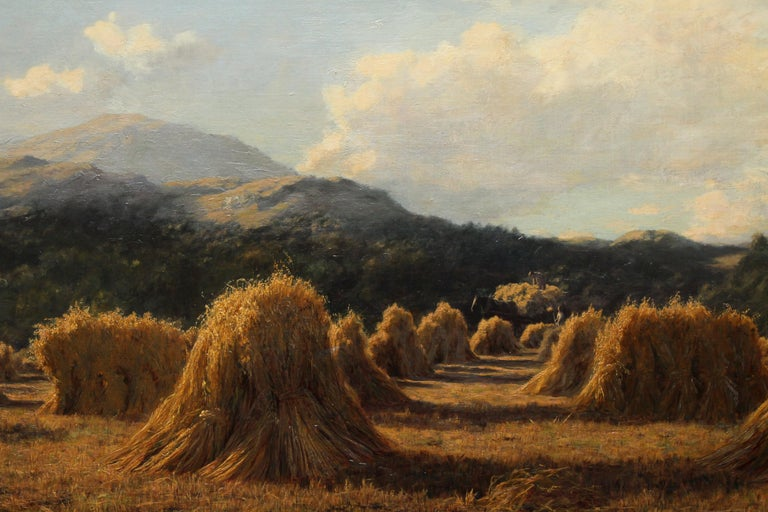 Harvest Field Brig O Turk Stirling Scotland -  Scottish art 1880 oil painting - Realist Painting by Duncan Cameron