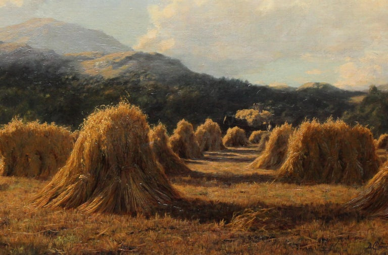 Harvest Field Brig O Turk Stirling Scotland -  Scottish art 1880 oil painting - Beige Landscape Painting by Duncan Cameron