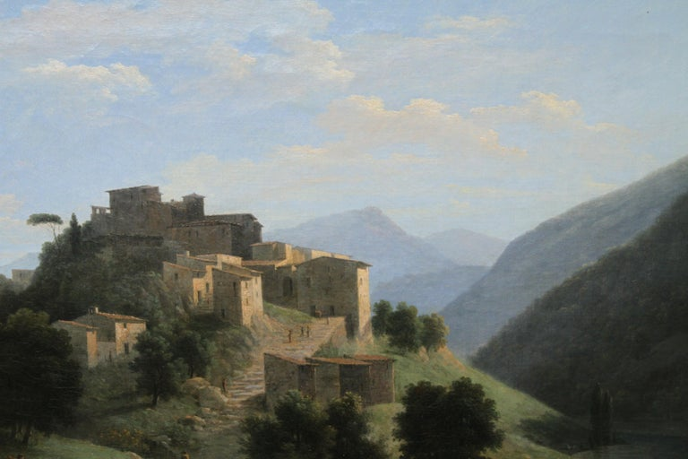 Italian Mountainous River Landscape  - French 19th Century Neo Classical art  For Sale 5