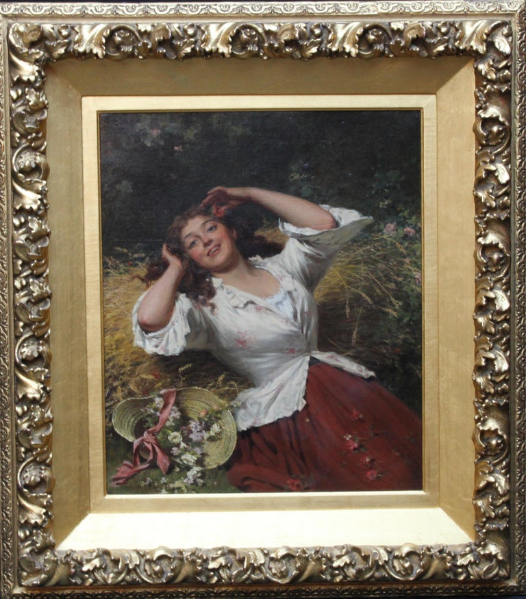 This lovely portrait oil painting is by much exhibited British artist Edwin Roberts. The painting is an excellent example of Victorian romantic genre art and is of a Summer Beauty. The beautiful young woman is reclining, hat thrown off and flushed