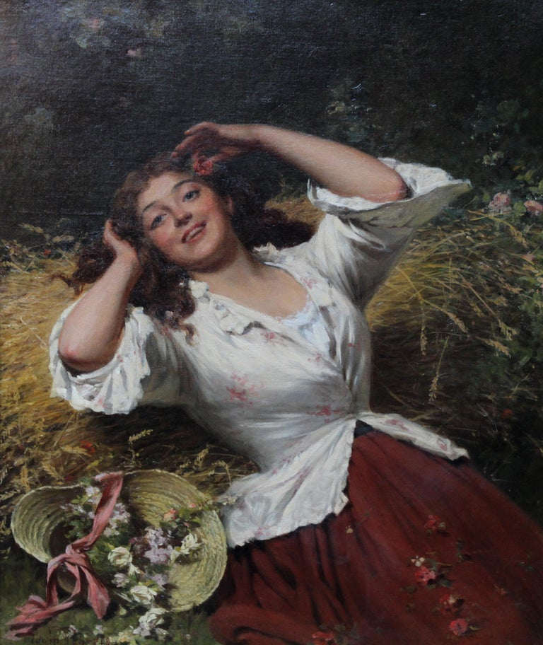 A Summer Beauty - British Victorian Genre art female portrait oil painting For Sale 1