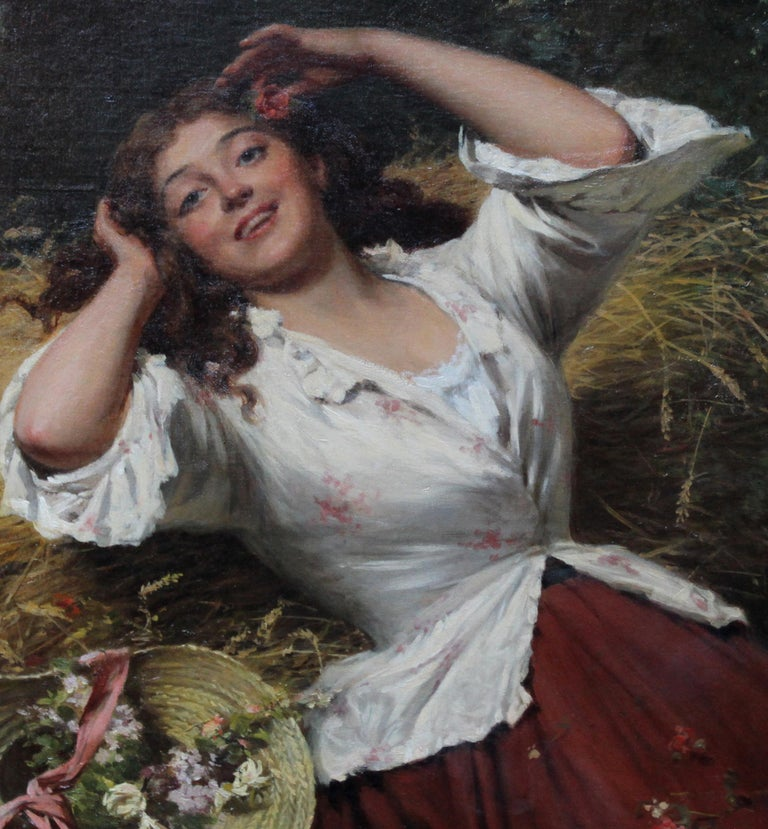 A Summer Beauty - British Victorian Genre art female portrait oil painting For Sale 2