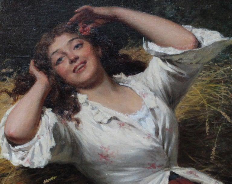 A Summer Beauty - British Victorian Genre art female portrait oil painting For Sale 3