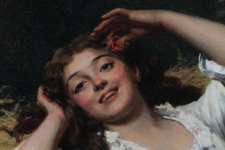 A Summer Beauty - British Victorian Genre art female portrait oil painting For Sale 4