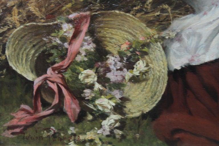 A Summer Beauty - British Victorian Genre art female portrait oil painting For Sale 5