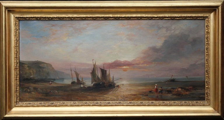 This gorgeous 19th century oil painting is by British artist W E Bates. The work dates to 1847. He exhibited extensively at the Royal Academy London and this was possibly exhibited in 1847. The painting is of Fecamp, a Normandy beach at low tide,