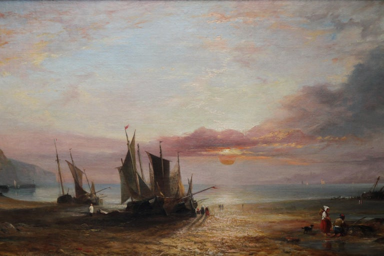 Low Tide at Sunset - Fecamp Normandy - British 19thC art seashore oil painting  For Sale 2