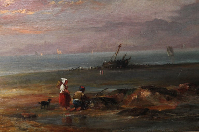 Low Tide at Sunset - Fecamp Normandy - British 19thC art seashore oil painting  For Sale 4