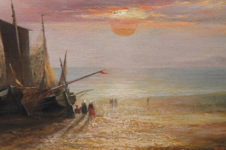 Low Tide at Sunset - Fecamp Normandy - British 19thC art seashore oil painting  For Sale 6