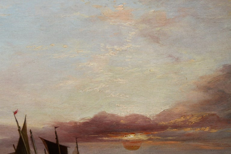 Low Tide at Sunset - Fecamp Normandy - British 19thC art seashore oil painting  For Sale 7