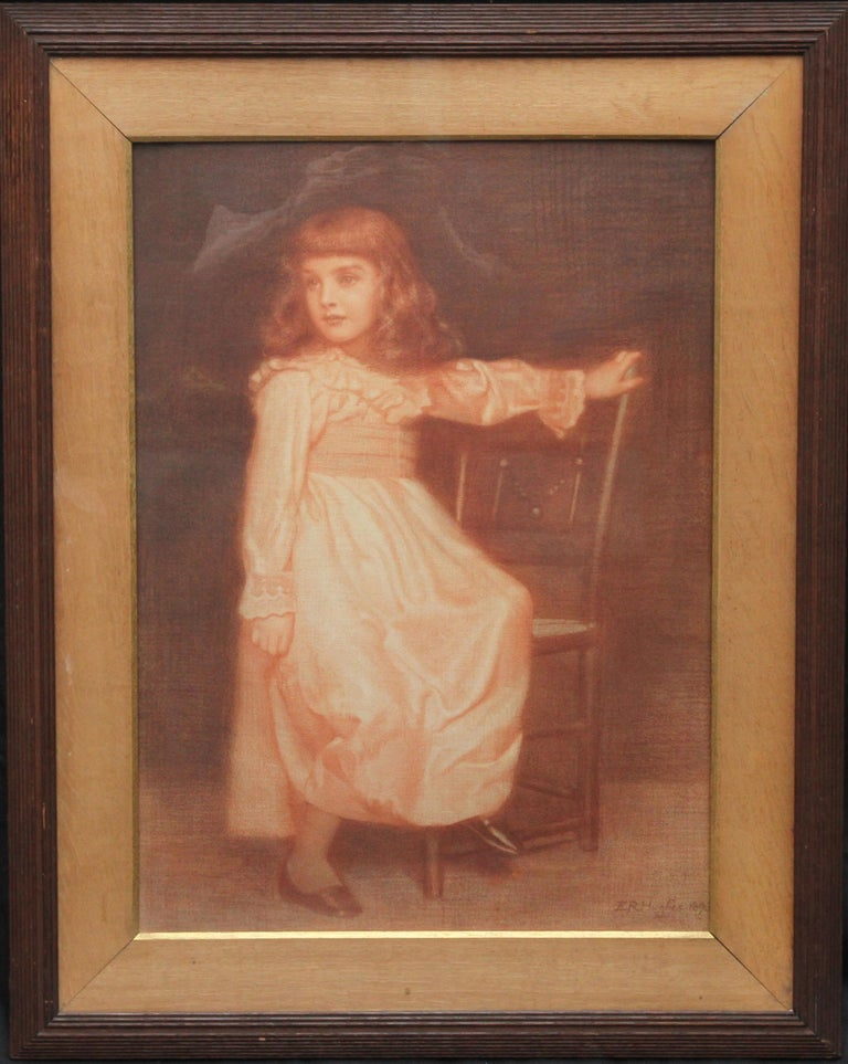 This captivating Victorian sanguine chalk portrait drawing of a young girl is by Pre-Raphaelite British artist Edward Robert Hughes. Signed and dated 1896, Hughes depicts in great detail her sweet young face and beautiful dress which appears to